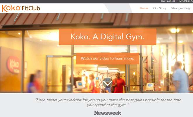 koko fitclub gym fitness website homepage layout