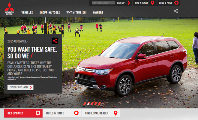 mitsubishi website car auto company