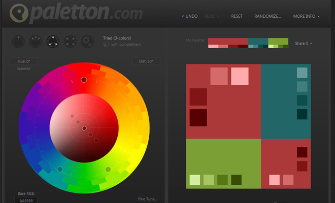 paletton color schemes matching webapp