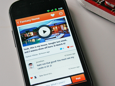orange Android ui details list social network
