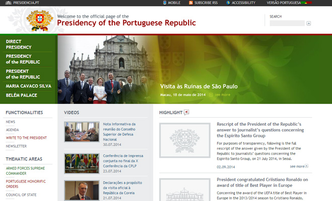 presidency of portuguese republic website