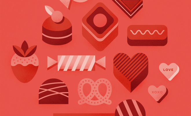 red chocolates design icons