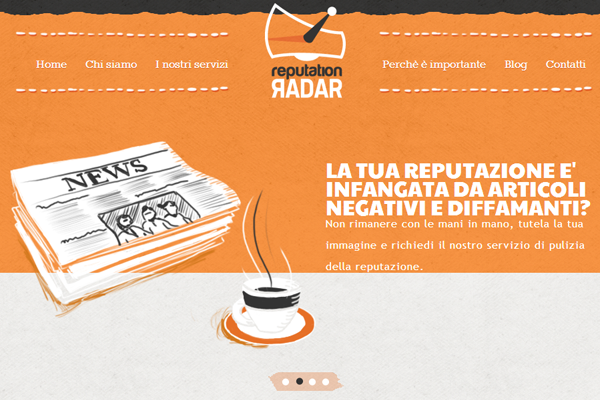 orange website layout radar reputation marketing