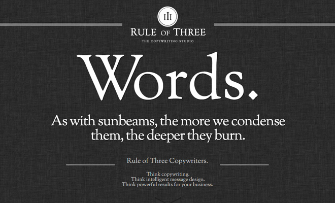 rule of three copywriters design agency homepage