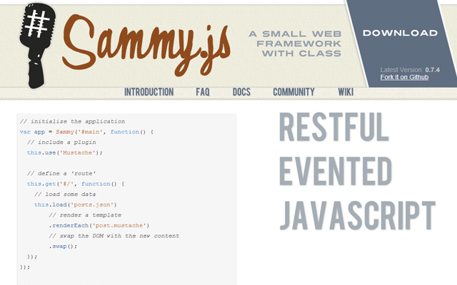 open source sammyjs library javascript website
