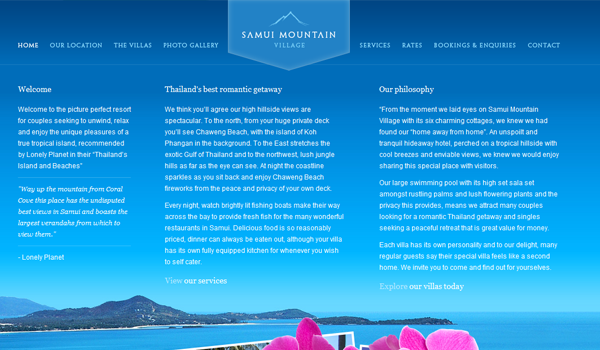 Samui Mountain Village website design