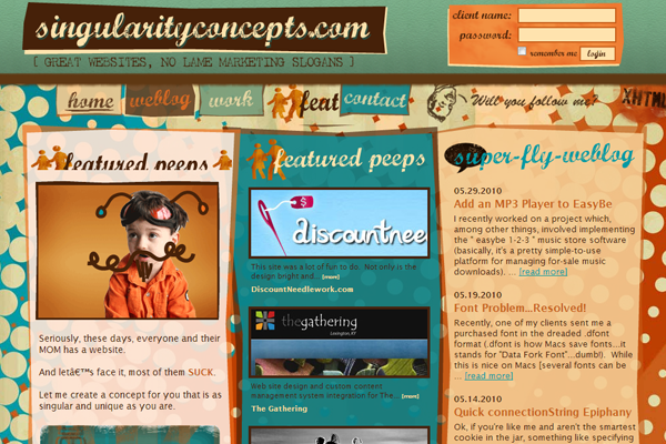 singularity concepts website interface layout illustrations