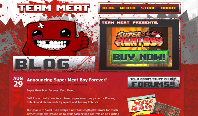 super meat boy video game homepage