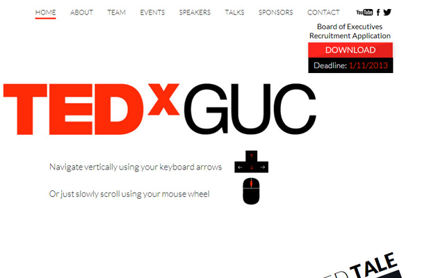 tedx guc website simple minimal single page