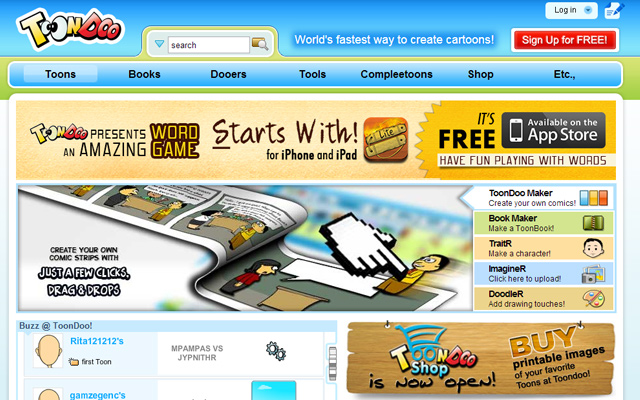 toondo comic book webapp creator resource homepage