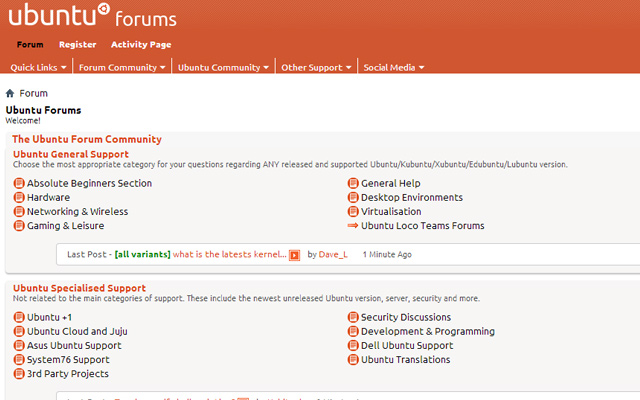 ubuntu forum design interface layout