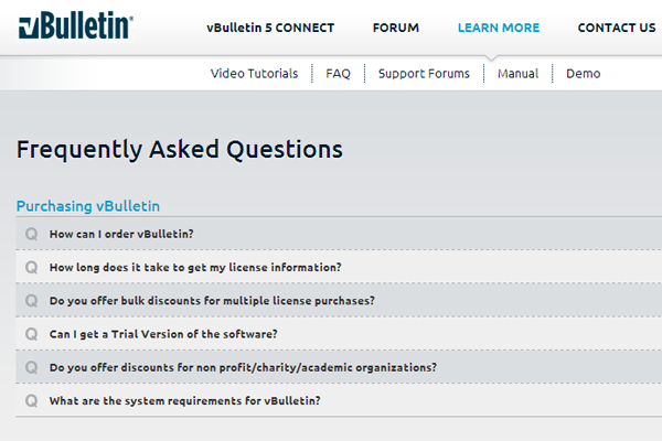 vBulletin Forums online discussion boards faq support pages
