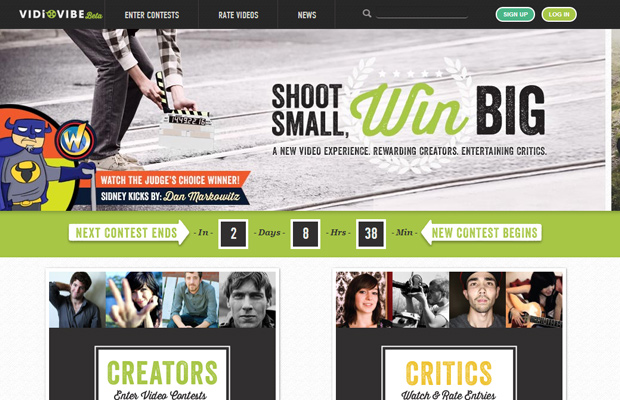 vidiovibe beta homepage website layout inspiring