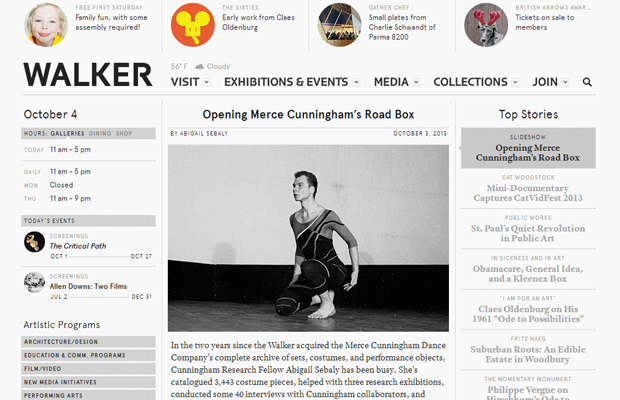 homepage sidebars walker art center design
