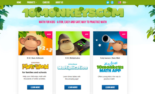 ten monkeys learning math website educational