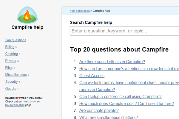 Campfire 37 Signals faq support pages