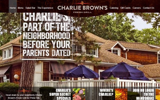 charlie brown grille website dark layout