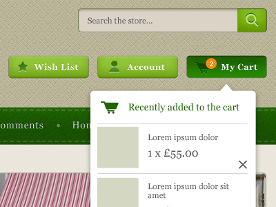 green dropdown menu navigation list