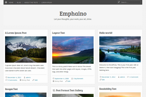 free photos blog theme layout emphaino