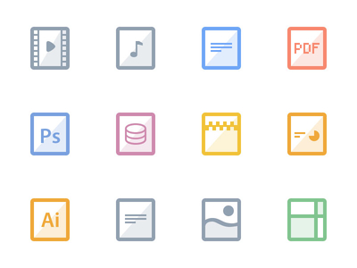 flat file icons set freebie glossy