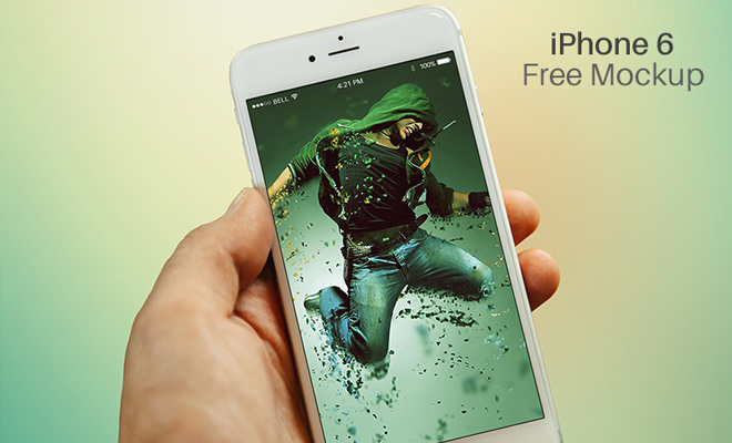 hand holding iphone 6 mockup psd freebie