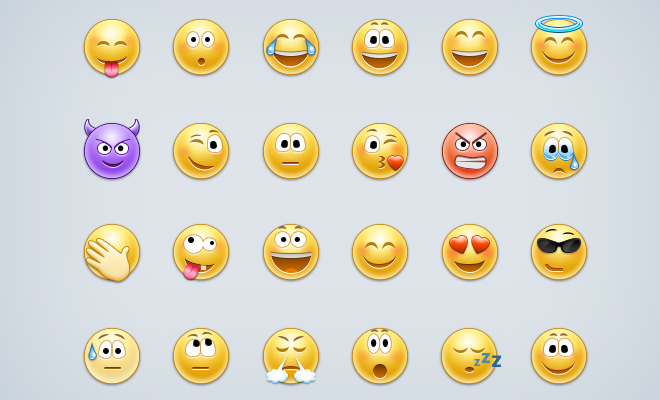 glossy smiley emoticons iconset