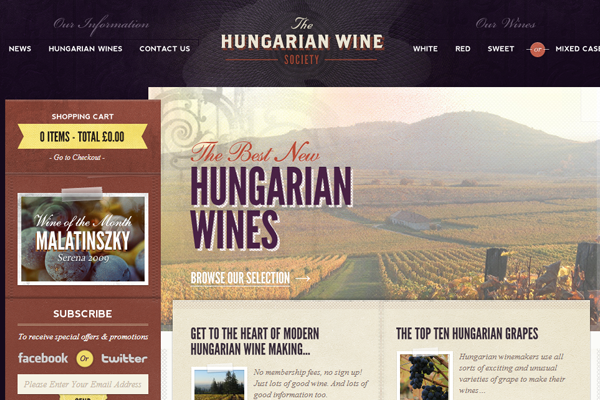 The Hungarian Wine Society website layout