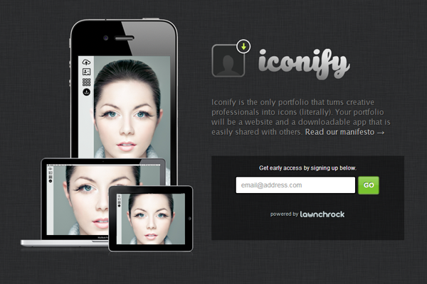 iPhone Mobile App Iconify website layout