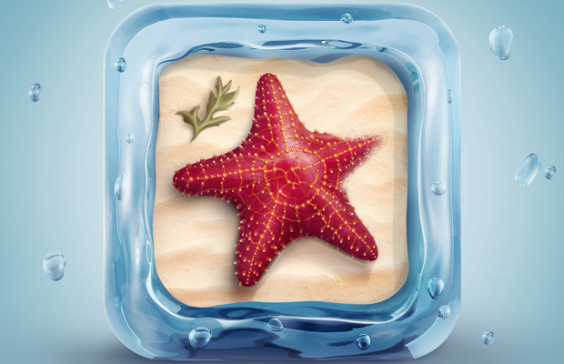 mobile ios beach starfish water icon psd tutorial