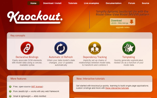 knockout js javascript mvc library homepage