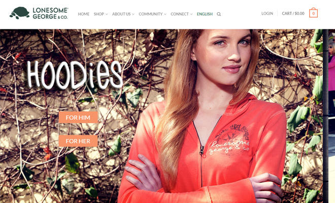 lonesome george shopify website homepage