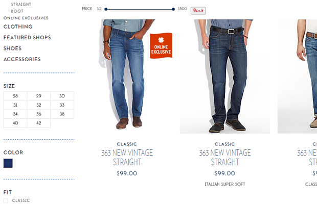 lucky brand ecommerce shop products list