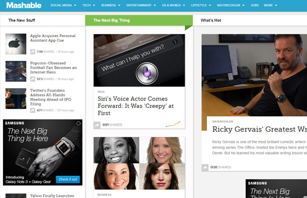 mashable redesign homepage sidebars screenshot