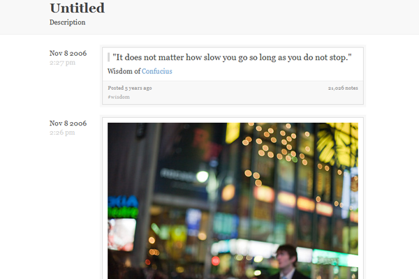 Tumblr blog theme layout Optimus