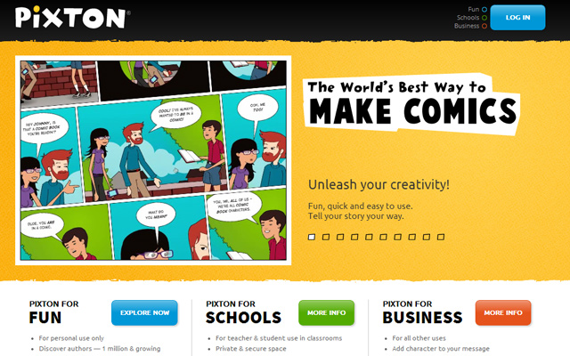 pixton webapp comic maker 2014 homepage layout