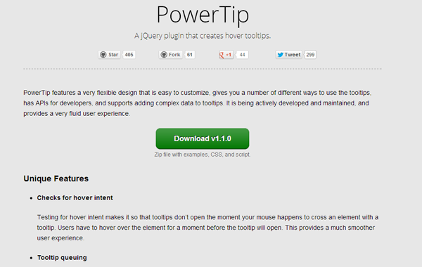 jquery plugin homepage design powertip