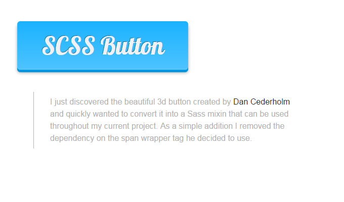 pure scss 3d button design