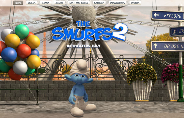 blue smurfs movie official website layout