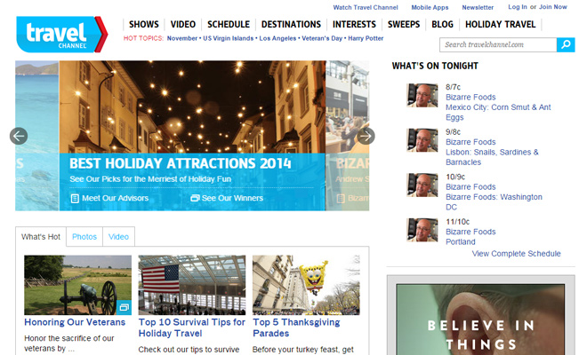 the travel channel network website