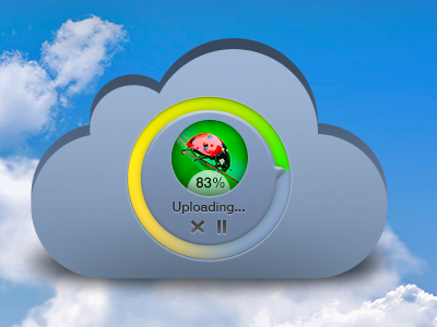Upload files into the Cloud free psd
