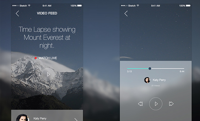 video stream app ios sketch freebie