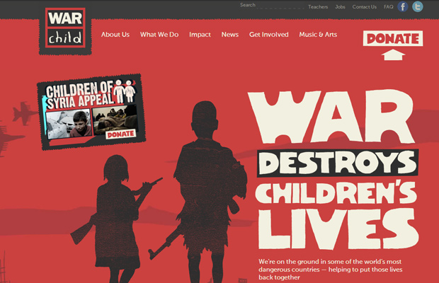 war child charity red website layout