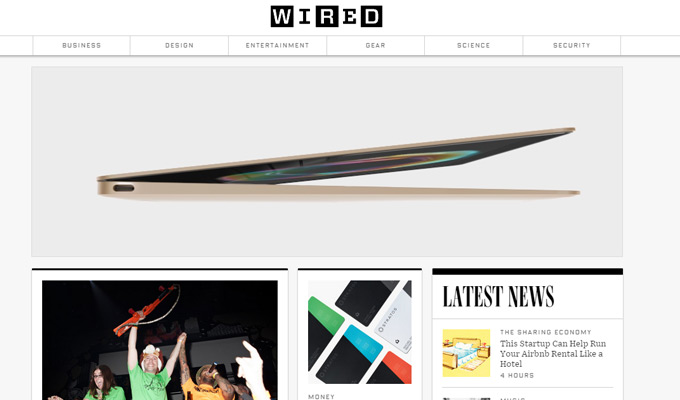 wired magazine website homepage