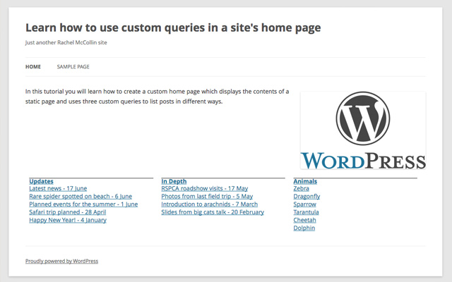 custom homepage wp queries tutorial