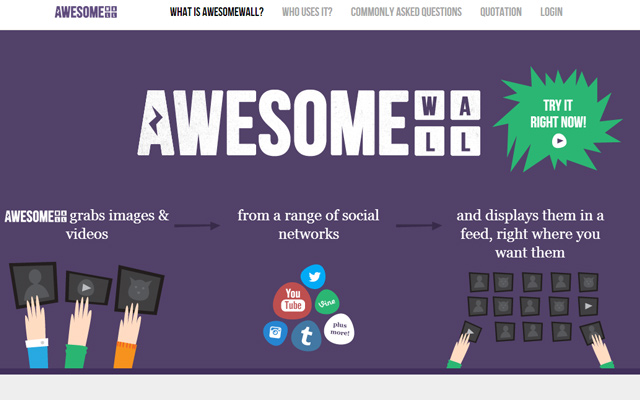 awesomewall purple website layout homepage