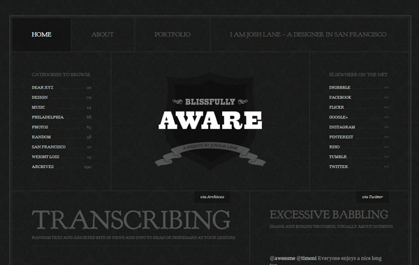 dark themed white typography website interface