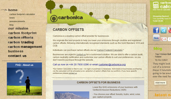 Carbonica website design natural