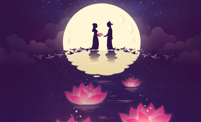 chinese valentines day artwork flowers