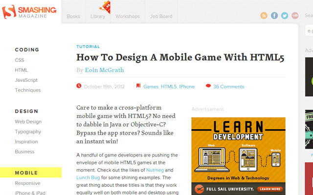 tutorial how to design a mobile browser webapp game