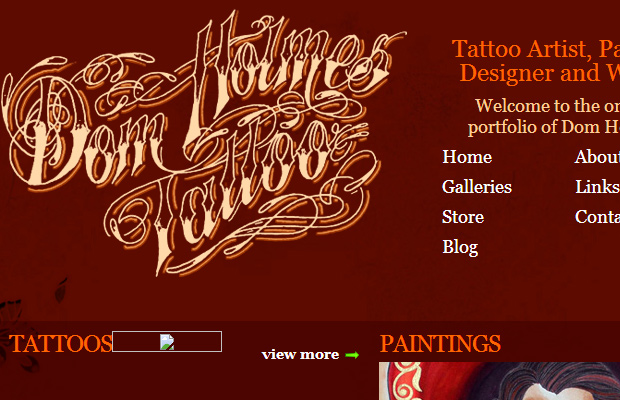 dom holmes tattoo parlor homepage red website